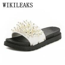 2017 frauen schuhe hausschuhe zapatos de mujer luxury brand designer versio plattform perle sandalen frauen gleitet hause hausschuhe terlik