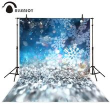 Allenjoy Photography backdrops Christmas abstract bokeh glitter snowflakes blue background photocall photobooth shoot props new