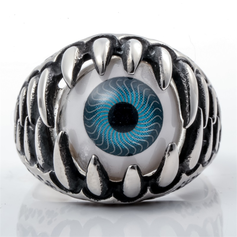 Mens Stainless Steel Eyeball Ring Punk Rock Party Jewelry Birthday Gifts For Dad Him Girlfriend