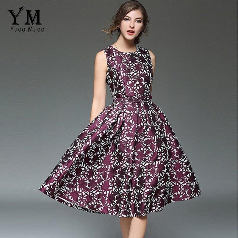 YuooMuoo Nové ženy letní šaty bez rukávů Ročník tištěné A-Line výšivka Knoe-délka O-Neck Šaty