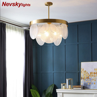Luxury brass chandelier for living room Milky white bubble glass Plate Led lamp dining Modern copper chandelier for the hall