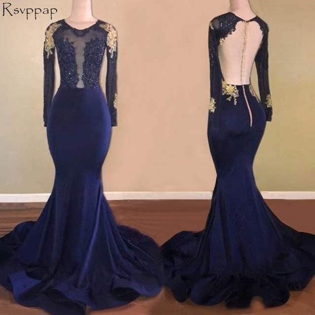 placeholder Long Prom Dresses 2018 Sexy Mermaid Sheer Back Long Sleeve Top  Lace Navy Blue African Girl 4ac6c7809