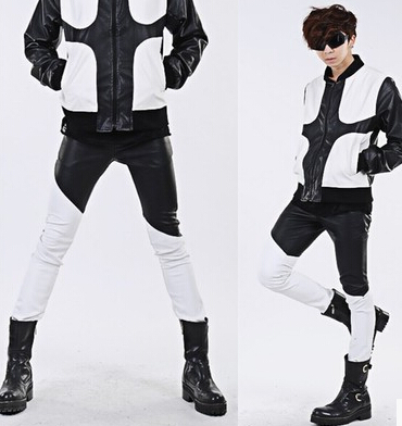 Men's Fashion Black White Patchwork Skinny Leather Pant Slim Fit Costume Personalized Leather Trousers