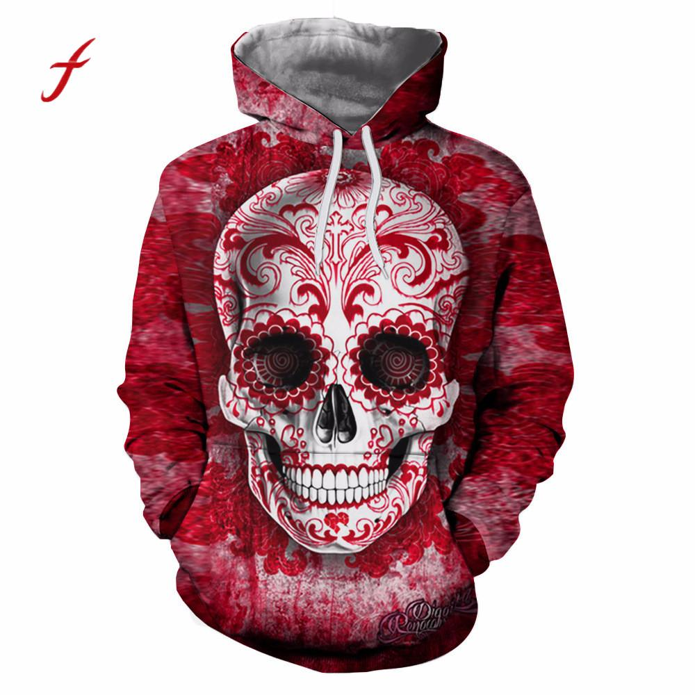 feitong Unisex Couple 3D Retro Printed Skull Pullover Harajuku Plus Size Large Women Men Spring Hooded Sweatshirt Tops Blouse