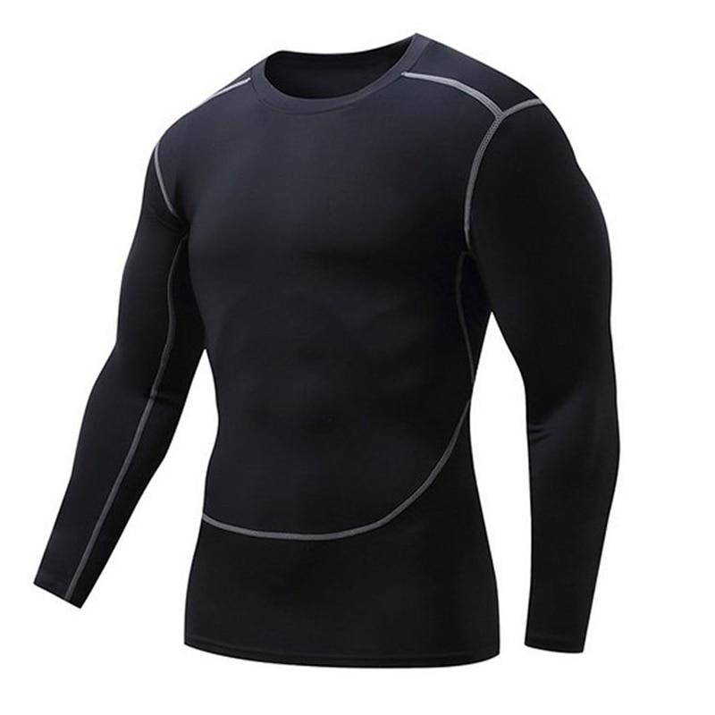 Män gymnastikskor kläder fitness kompression manliga toppar bodybuilding långärmad tröja rashguard snabbtorkande t-shirts UVprotector