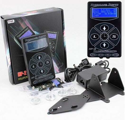 Tattoo Power Supply 2018 Nyeste Tattoo Machine Hurricane HP-2 Intelligent Digital LCD Makeup Dual Power Tattoo Supplies Set