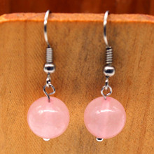 Trendy-beads Silver Plated Natural Rose Pink Quartz Round Beads Drop Earrings For Women Jewelry