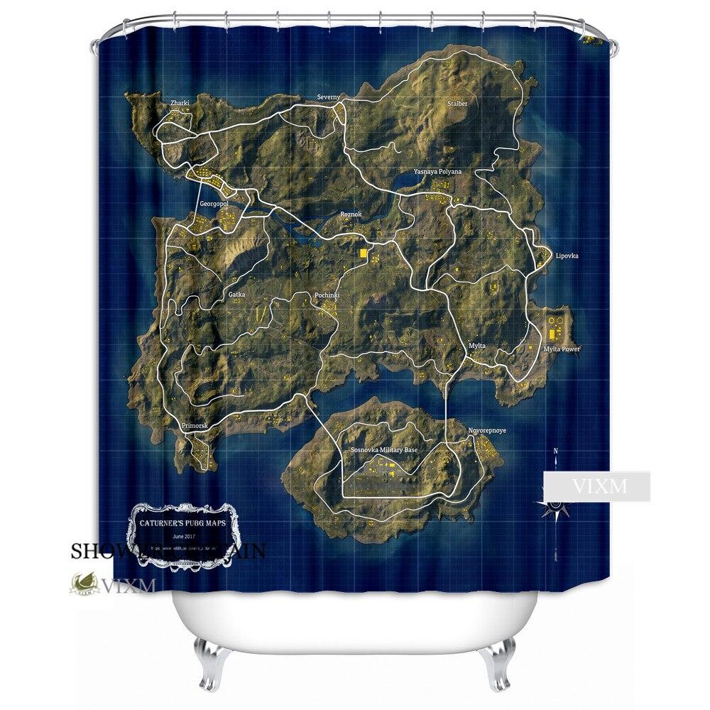 VIXM Playerunknown\'s Battlegrounds Supplies Map Fabric Shower ...