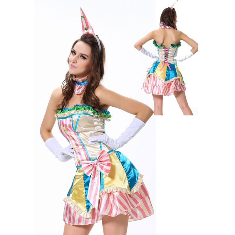 Fever Boutique Colorful Bustle Skirt Collar and Mini Hat Gloves Clown Lovely Adult Sexy Costume Halloween Clown Costume L1320 L1320 (2) 800x800