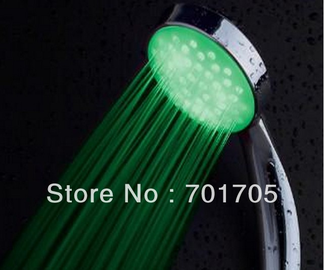 Newest~LED Temperature Control Romantic 3 Colors Light Bathroom Shower Head Water flow power (no battery) free shipping!(10pcs)