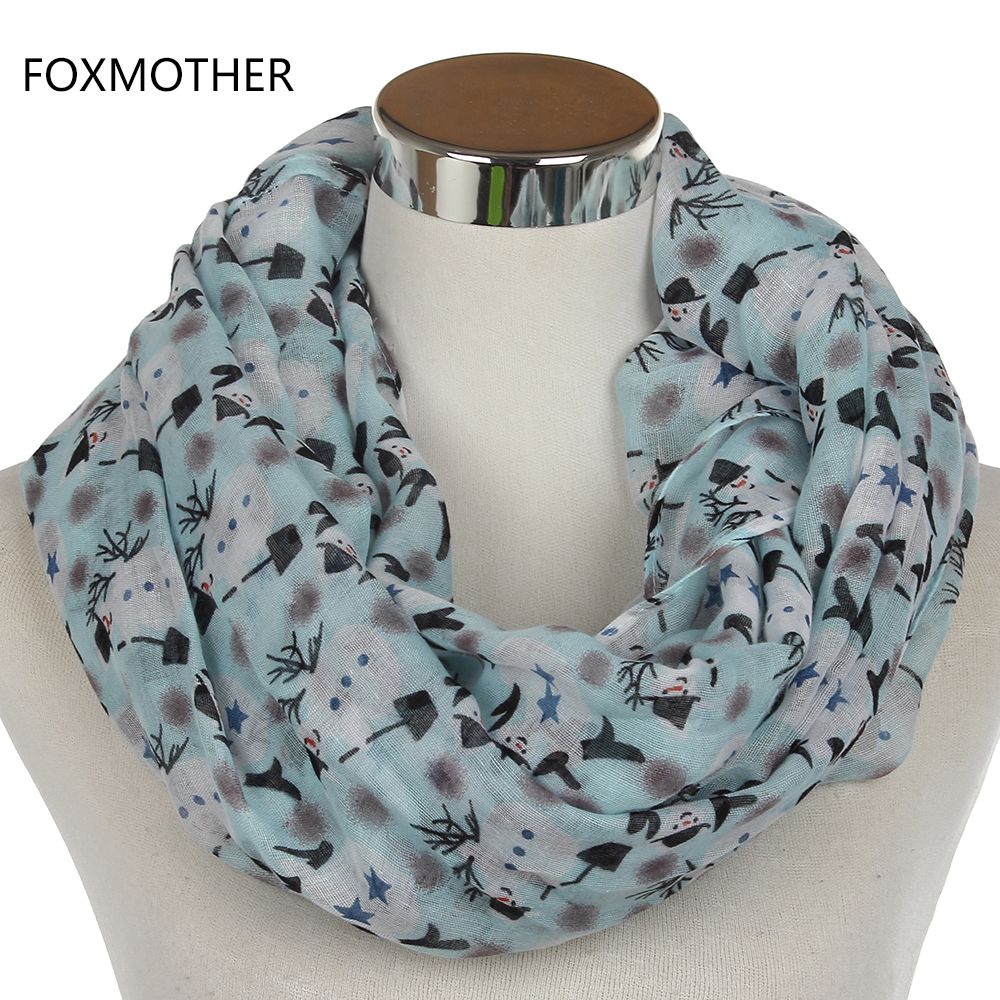 FOXMOTHER 2018 New Winter Fashion Lightweight Snowman Christmas Ring   Scarves     Wrap   Womens Ladies