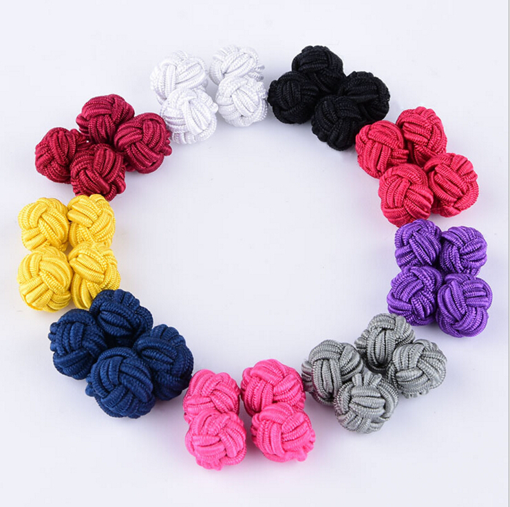 300pcs lot 150pairs High Quality Knit hand woven Silk Knot Cufflinks Chinese silk buckle men s