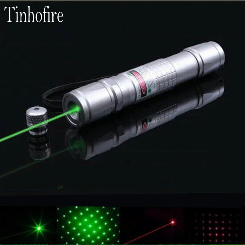 Tinhofire High Power Lazer Pointer Check Laser 5mW Green 532nm Red 650nm Laser Pointer Pen 1x18650 Battery Flashlight Laser