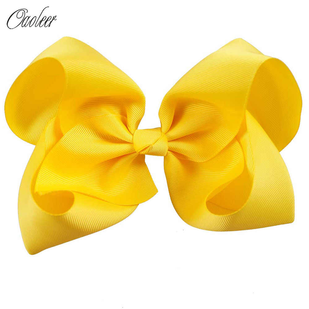 "8""Jumbo Solid Hair Bow Handmade Grosgrain Ribbon Hairbows Bowknot Barrette For Girls Kids Bow With Clips Big Hair Accessories"