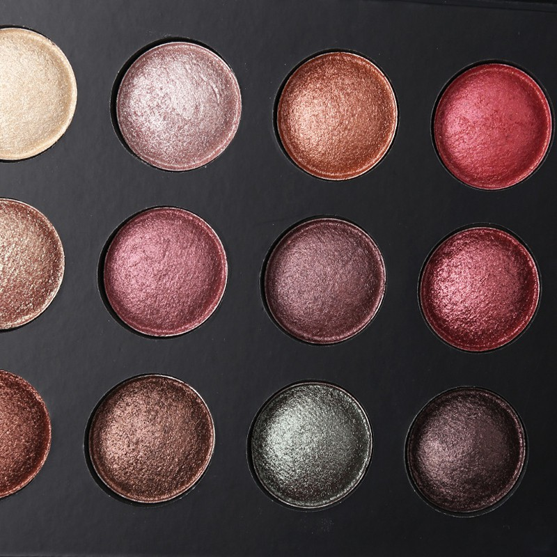 Baked Metallic Eye Shadow Makeup Palette Glitter Smoky Eye shadow Powder Cosmetics 12 Colors