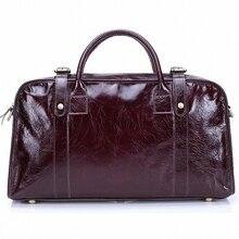 Casual Men women Big duffle Bag 100% Crazy Horse Genuine leather Men travel Bag Large Road Weekend Bag Overnight handbag LI-1405