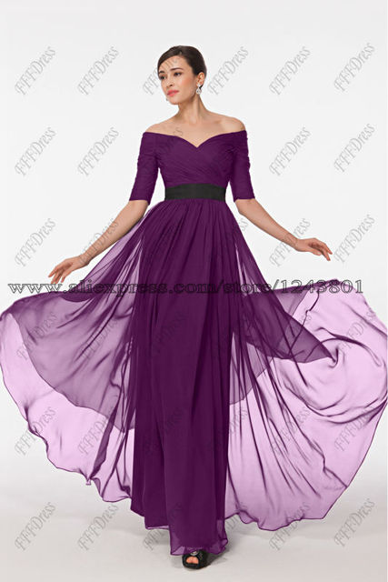 52eaacec2882 Modest Plum Purple Bridesmaid Dress with Sleeves Elegant Off the Shoulder  Formal Gown Plus Size