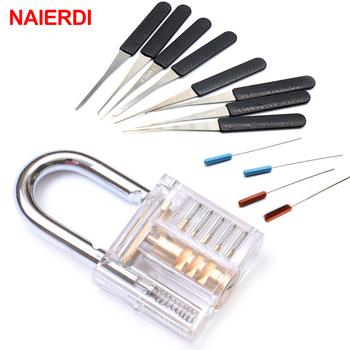 NAIERDI Practice kłódka ślusarz narzędzie ręczne przezroczysty widoczny wytrych do zamków z uszkodzonym kluczem usuwanie haczyków zestaw wytrychów sprzętu tanie i dobre opinie Kłódki Keyed NED-LT3(S) 5 x 3 x 1 3cm (L x W x H) Metalworking Blue Transparent Flat Key Acrylic and Alloy Transparent Visible Practice Padlock Locksmith Tool
