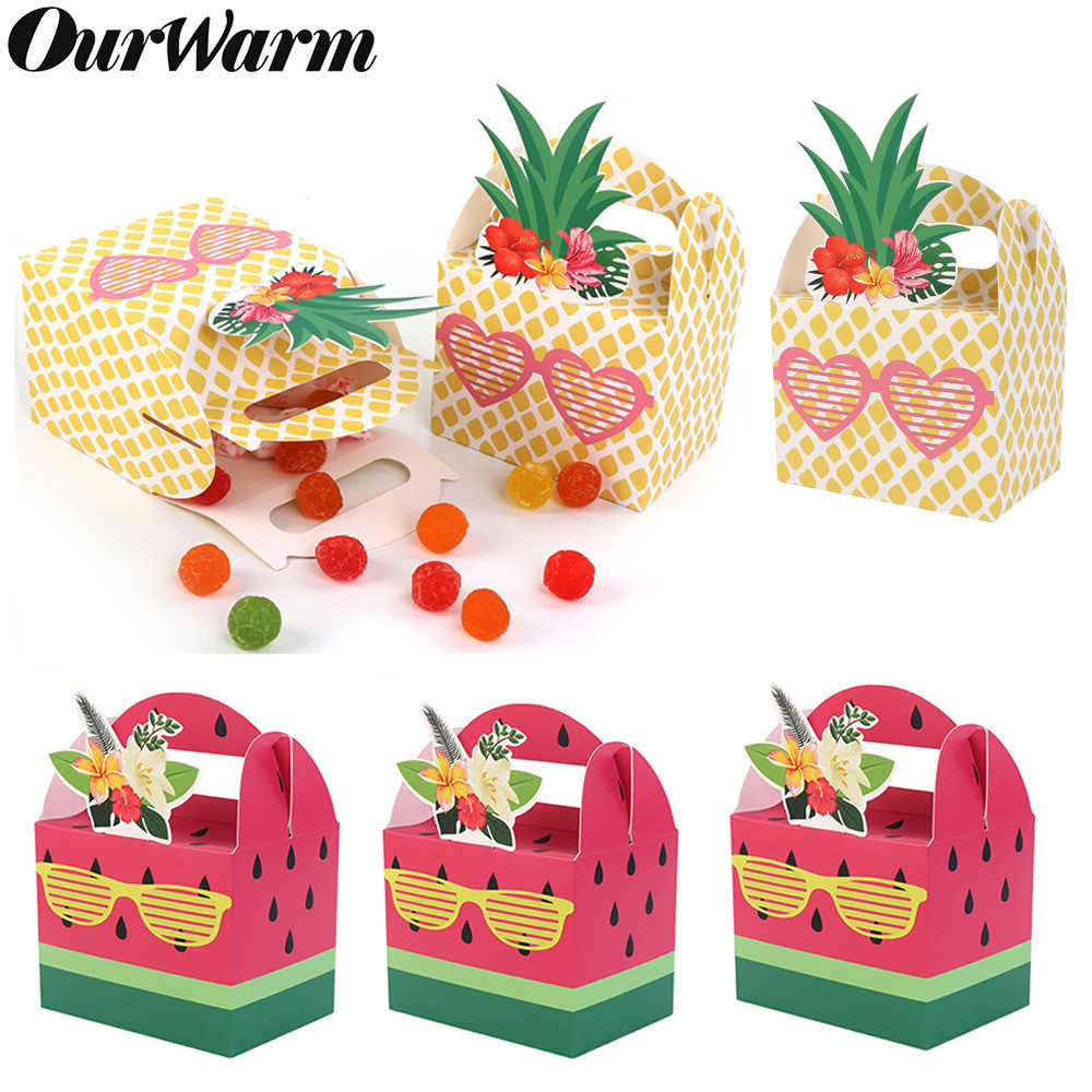 OurWarm 10Pcs DIY Paper Gift Box for Hawaiian Party Decorations Fruit Pineapple Watermelon Favor Boxes Birthday Party Supplies