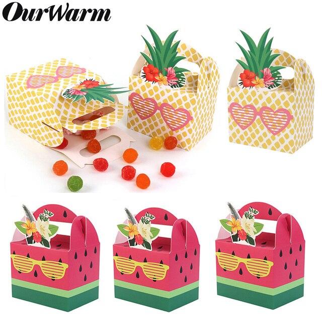 OurWarm 10 Pcs DIY Caixa de Presente de Papel para Decorações Do Partido Havaiano Frutas Abacaxi Melancia Caixas Do Favor Do Aniversário Fontes Do Partido