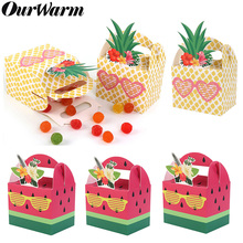 OurWarm 10Pcs DIY Paper Gift Box for Hawaiian Party Decorations Fruit Pineapple Watermelon Favor Boxes Birthday Supplies