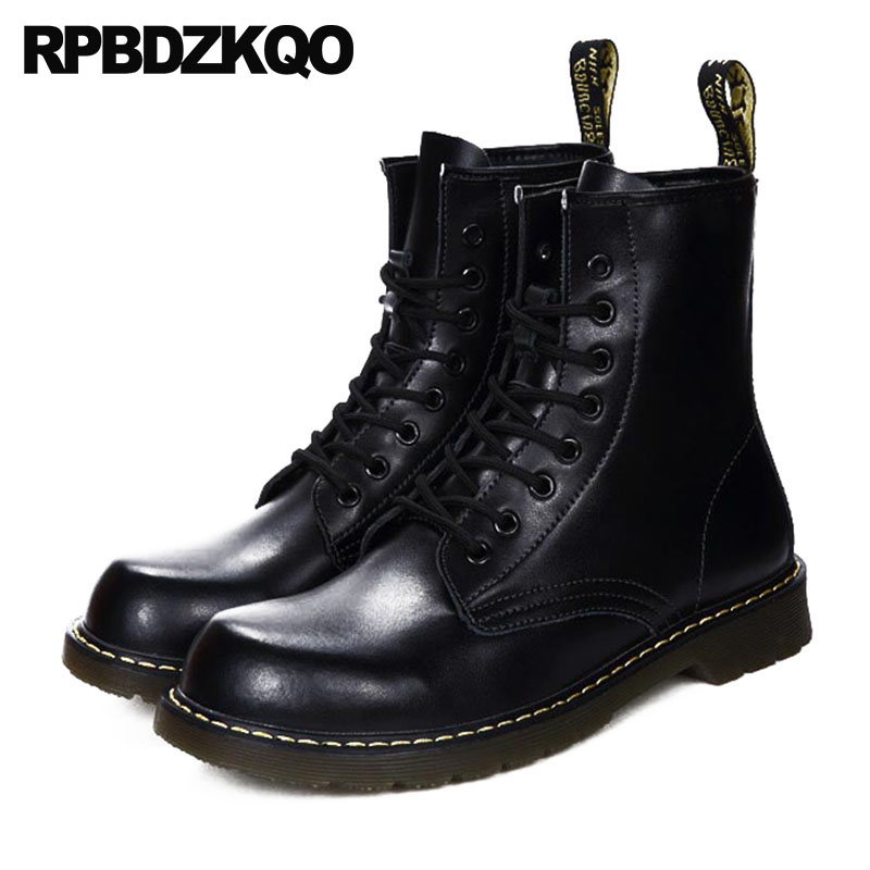Mens Winter Boots Warm Military Shoes Ankle Designer Lace Up Fall Vintage Combat 2018 Black Fur Lined Short Faux Army Autumn faux fur lined flat ankle boots