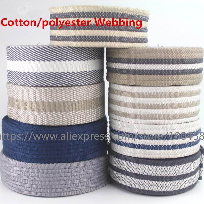 Tela de algodón bolso de correa de cinturón de tela de las correas que 2mm de espesor de calidad de 45mm de ancho