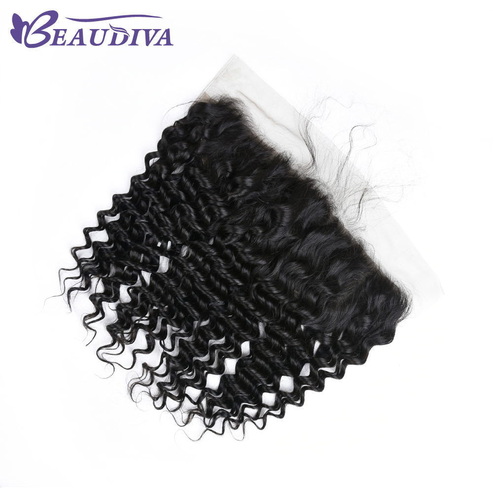 Beaudiva Brazilian Deep Wave Lace Frontal 13*4 Free Part Natural Color 100% Human Hair 8-20 Inch Free Shipping