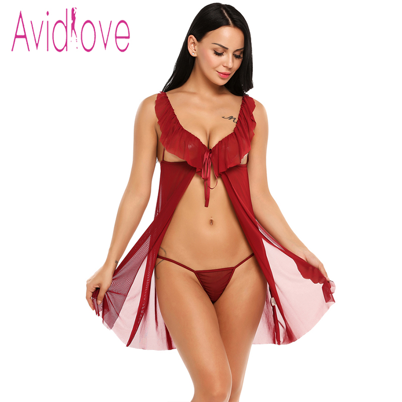 Avidlove Sex Clothes Lace Mesh Ruffled Nightwear Dress Women Babydoll Lingerie Sexy Hot Erotic Underwear Sleepwear Porn Costume sexy women s round neck ruffled solid color top