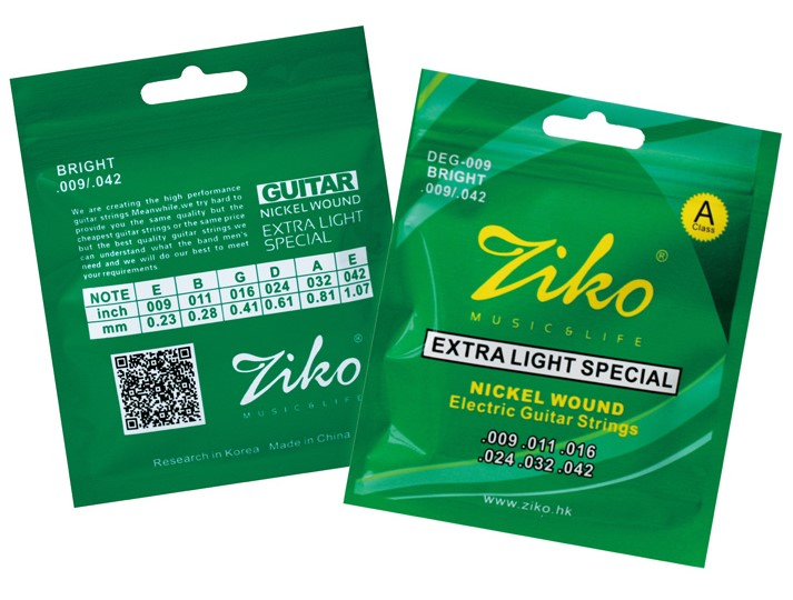 Ziko DEG-009 Nickel Wound Electric Guitar Strings 009-042 Extra Light Special, Great Practice Strings