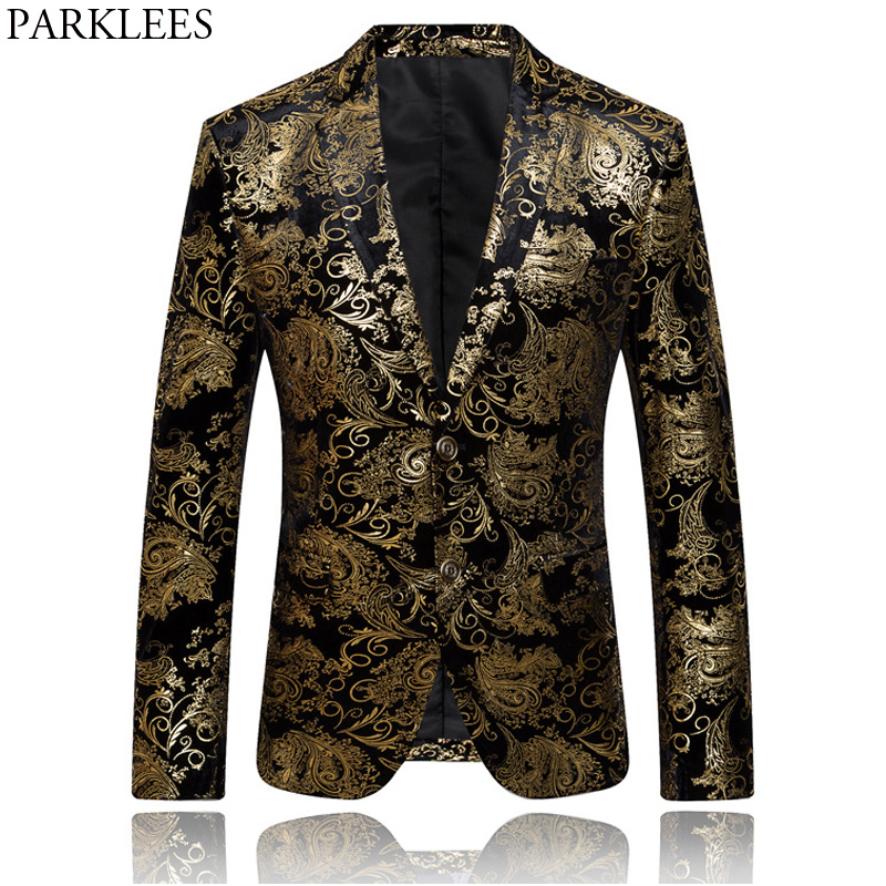 Mens Hipster Geek Metallic Paisley Floral Printed Suit Blazer 2018 New Slim Fit Single Breasted Two Button Suit Blazers Jacket-in Blazers from Men's Clothing    1