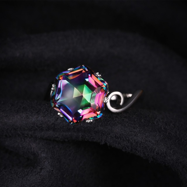 Mystic Topaz Sterling Silver Ring For Women