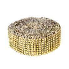 10 Yards 8 Rows Gold Diamond Mesh Wrap Roll Sparkle Rhinestone Crystal Cake  Ribbon Wedding Party 97332aafdc2a