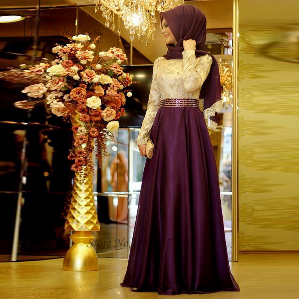 2016 Muslim Evening Dresses Long Sleeve Purple Green Embroidery Hijab Islamic Dubai Abaya Kaftan Prom Dress