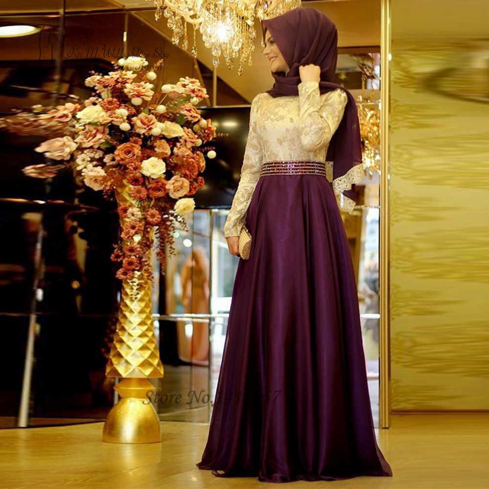 20 muslimischen Abendkleider Langarm Lila Grün Stickerei Hijab  Islamischen Dubai Abaya Kaftan Abendkleid Robe de Soiree