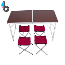 Fireprofing Board Office Folding Table Portable Indoor Outdoor Picnic Party Camping Center Folding Tables with 4 Folding Chairs