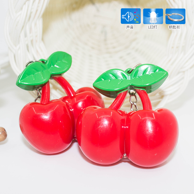 Creative Lovely Double Red Cherry Keychain Fashion with LED Flashlight Women Handbag Keys Holder Car Key Bag Keychain Ornaments