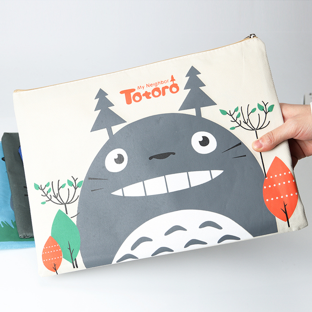 1PC Kawaii Filing Products Totoro Zipper Oxford A4 File Folder Document Filing Bag Stationery Big Capacity 33X23.5cm