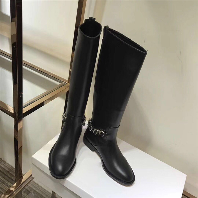 2017 New Autumn Winter Knee High Boots Shoes Woman Leather Boots Metal Chain Slip On Designer Woman Knight Boots Round Toe Boots цена
