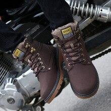 Men's Winter Warm Boots Fur Lining Material Boots Men Black Khaki Brown Lace-up Shoes XM-03