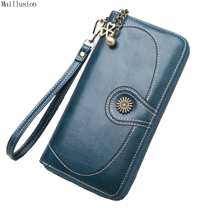 Maillusion Women Clutch Wallets Vintage Sunflower PU Oil Wax Leather New Female Long Wallet Women Zipper Purse Strap Coin Purse
