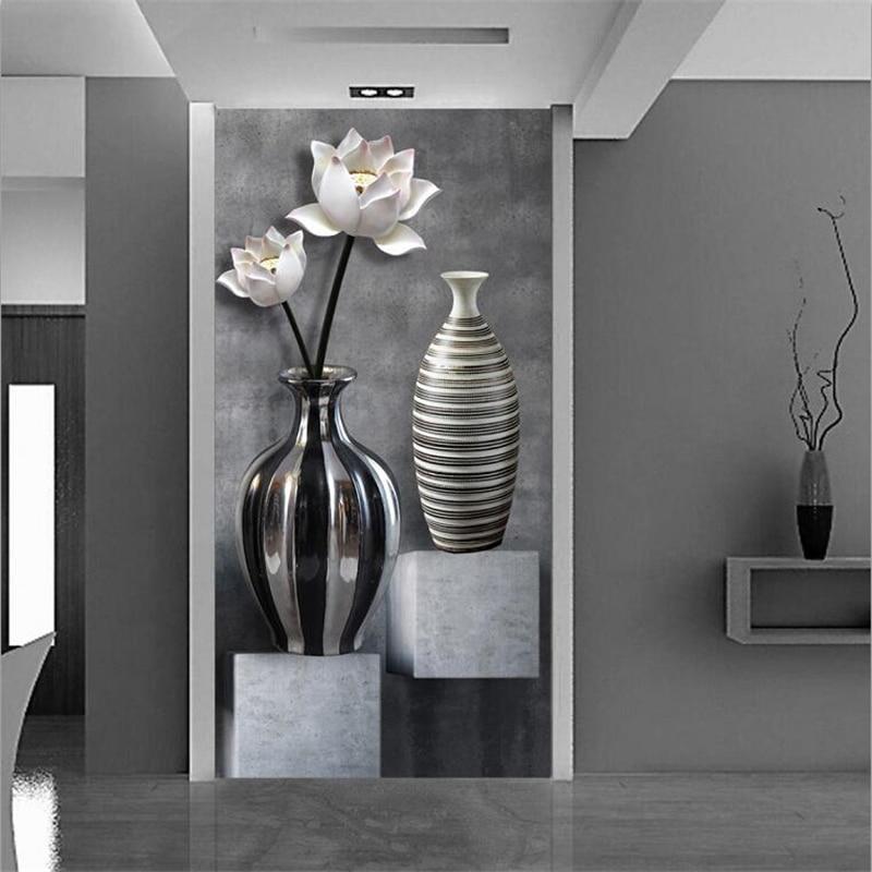 Beibehang Papel De Parede Custom Wallpaper 3D Photo Murals High Definition Lotus Vase Fairway Aisle Background Wall Paper Mural