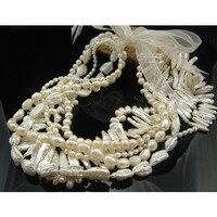 Free Shipping White Long Freshwater Pearl Necklace Irregular Biwa Designer Pearl Necklace