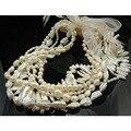 Collar fornido de La Perla Blanca de Agua Dulce Largo Collar de Perlas Biwa Irregular Diseñador Grano de La Perla Del Collar de Muchos Métodos de Kpop