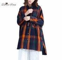BelineRosa 4XL 5XL 6XL Plus Size Tops Women Blouses England Style Plaid Casual Womens tops and blouses DMNZ0025