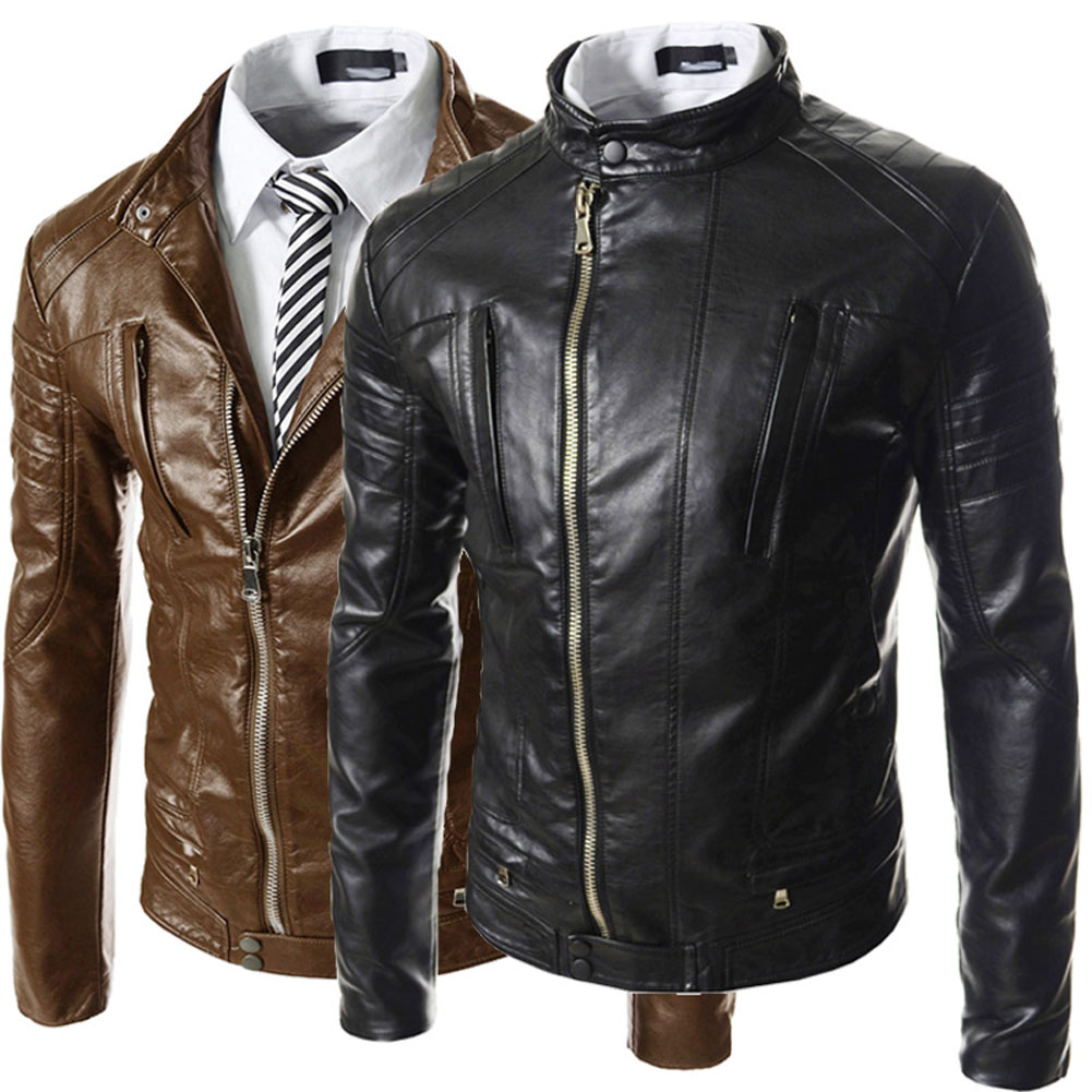 Brand Clothing 2017 New Fashion PU Leather Jackets For Mens Vintage Design Stand Collar PU Jacket Leather Biker Zipper Coats
