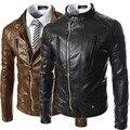 Brand clothing 2017 nueva manera de la pu chaquetas de cuero para hombre de la vendimia diseño del collar del soporte de la pu chaqueta de cuero del motorista de la cremallera abrigos
