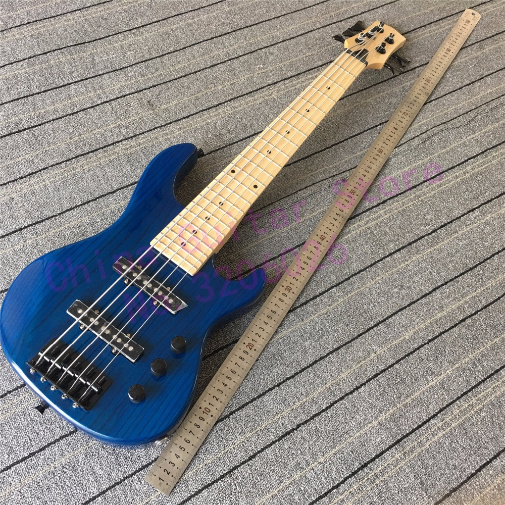 custom shop mini 5 strings blue bass guitar free shipping in guitar from sports entertainment. Black Bedroom Furniture Sets. Home Design Ideas