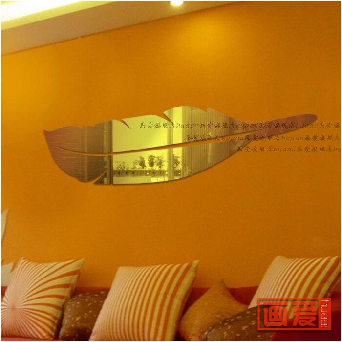 Acrylique eau miroir surface en trois dimensions stickers muraux plume salle de bain décoration miroir or et argent
