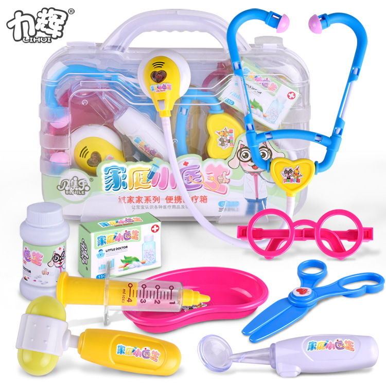 Childrens Simulation House Doctor Toys Set of 9 Storage Stethoscopes Injection Tube Medicine Tools Toys